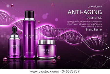 Anti aging cosmetics tubes and cream jar mock up banner with dna structure, repair beauty skin care cosmetic product bottles background. Gel fluid serum package design Realistic 3d illustration stock photo