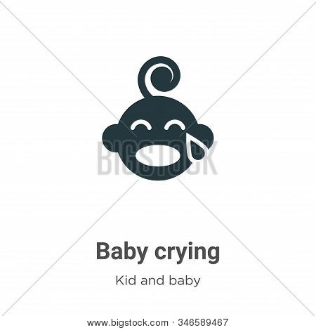 Baby crying glyph icon vector on white background. Flat vector baby crying icon symbol sign from modern kid and baby collection for mobile concept and web apps design. stock photo