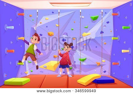 Kids climbing wall, boy and girl playing in recreation area for children or playing room with ropes for rock scaling activity in amusement park or playground. Game leisure. Cartoon illustration stock photo