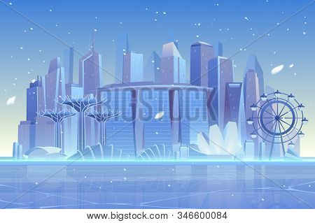 Winter city skyline at frozen waterfront bay. Futuristic metropolis architecture and ferris wheel view under fallen snow. Luxury skyscrapers buildings cityscape background. Cartoon illustration stock photo