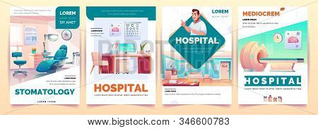 Hospital banners set. Stomatology and therapeutic office, magnetic resonance imaging service and mediocrem background for clinic advertising, health care poster design. Cartoon illustration stock photo