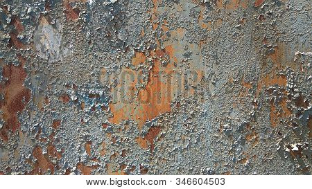 Corroded metal background. Rusted white painted metal wall. Rusty metal background with streaks of rust. Rust stains. The metal surface rusted spots. Rystycorrosion. stock photo
