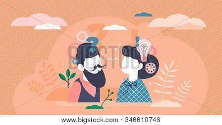 Reasoning abstract activity concept, flat tiny person couple planning and dealing with decision making process. Stylized vector illustration with creative question mark, light bulb and gear symbols. stock photo