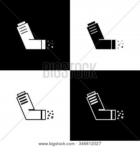 Set Inhaler icon isolated on black and white background. Breather for cough relief, inhalation, allergic patient. Medical allergy asthma inhaler spray. Vector Illustration stock photo