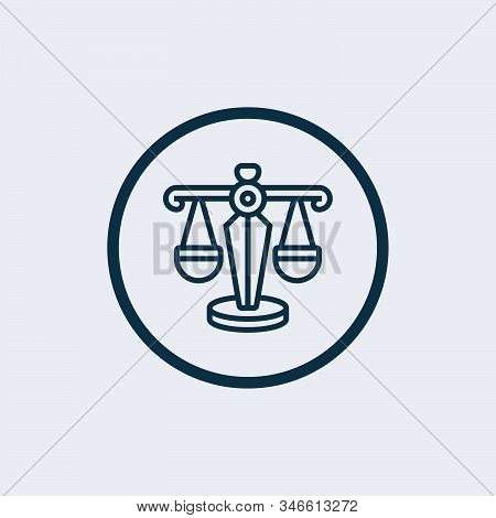Law scale icon isolated on white background. Law scale icon in trendy design style. Law scale vector icon modern and simple flat symbol for web site, mobile, logo, app stock photo