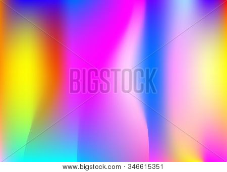 Gradient mesh abstract background. Plastic holographic backdrop with gradient mesh. 90s, 80s retro style. Pearlescent graphic template for brochure, banner, wallpaper, mobile screen. stock photo