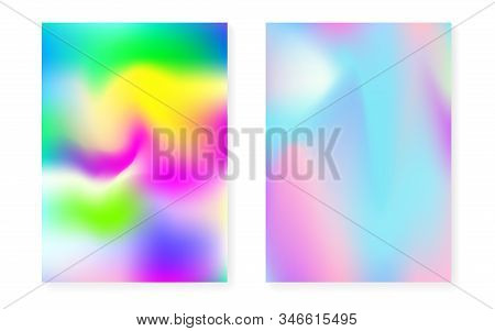 Hologram gradient background set with holographic cover. 90s, 80s retro style. Pearlescent graphic template for flyer, poster, banner, mobile app. Futuristic minimal hologram gradient. stock photo