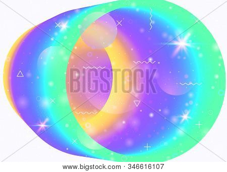 Vibrant gradients on rainbow background. Holographic dynamic fluid. Cosmos hologram. Graphic template for placard, placard and cover. Plastic vibrant gradients. stock photo