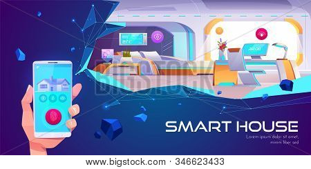Smart house web banner. Home interior with artificial intelligence technology, Internet of things mobile application service touch screen on neon background Cartoon illustration, landing page stock photo