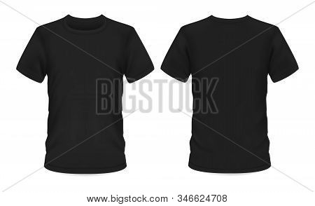 Men t-shirt, vector black mockup template with short sleeve and round neck. T-shirt mockup, menswear casual apparel clothing and sportswear, front and back view stock photo