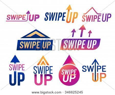 Swipe up arrow vector icons for mobile app UI template and social blogs web elements. Swipe up red and blue purple gradient flat modern icons for user interface graphic design stock photo