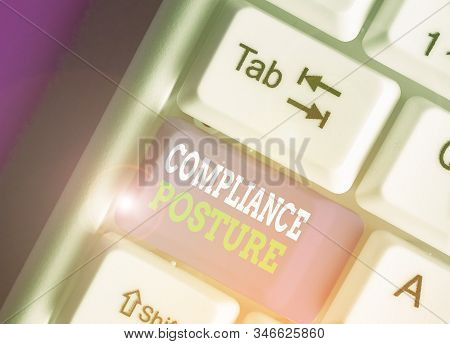 Conceptual hand writing showing Compliance Posture. Business photo text analysisage the defense of enterprise and assure resources. stock photo