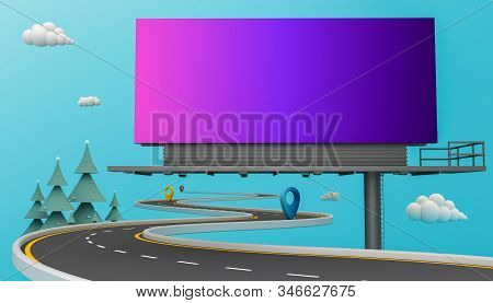 billboard blank for outdoor advertising on colorful background with clipping paths. 3d rendering. stock photo