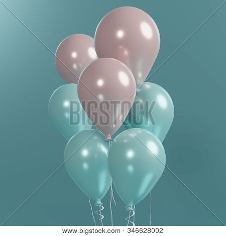 3d rendering of close up bunch of pink and blue balloons that floating on the air with blue background. Happy valentine's and anniversary day. stock photo
