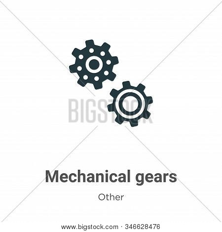 Mechanical gears glyph icon vector on white background. Flat vector mechanical gears icon symbol sign from modern other collection for mobile concept and web apps design. stock photo
