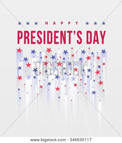 Happy Presidents Day. Festive banner with american style stars and text. Vector illustration. Creative Beautiful USA Stars template background. United state of America, US design. Poster design stock photo