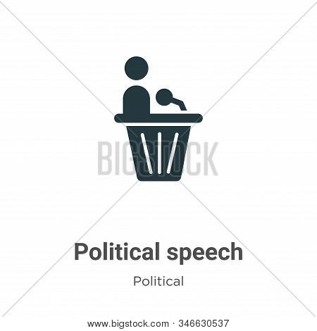 Political speech glyph icon vector on white background. Flat vector political speech icon symbol sign from modern political collection for mobile concept and web apps design. stock photo
