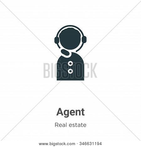 Agent glyph icon vector on white background. Flat vector agent icon symbol sign from modern real estate collection for mobile concept and web apps design. stock photo