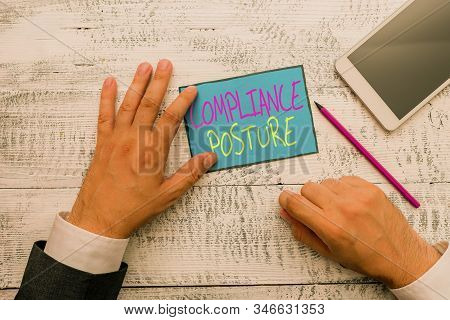 Word writing text Compliance Posture. Business concept for analysisage the defense of enterprise and assure resources Hand hold note paper near writing equipment and modern smartphone device. stock photo
