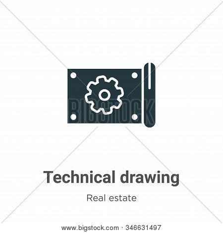 Technical drawing glyph icon vector on white background. Flat vector technical drawing icon symbol sign from modern real estate collection for mobile concept and web apps design. stock photo