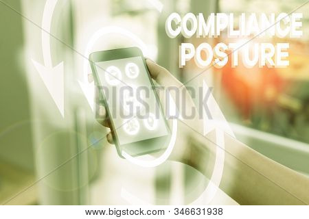 Handwriting text writing Compliance Posture. Concept meaning analysisage the defense of enterprise and assure resources. stock photo