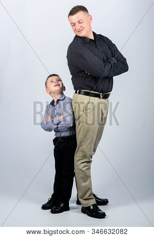 family day. childhood. parenting. fathers day. happy child with father. business partner. father and son in business suit. little boy with dad businessman. fathers day. fathers day concept stock photo