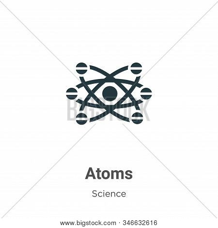 Atoms glyph icon vector on white background. Flat vector atoms icon symbol sign from modern science collection for mobile concept and web apps design. stock photo