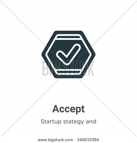 Accept glyph icon vector on white background. Flat vector accept icon symbol sign from modern startup stategy and success collection for mobile concept and web apps design. stock photo