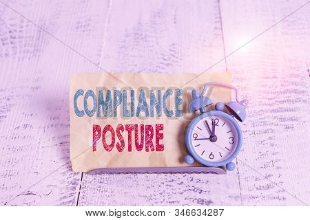 Word writing text Compliance Posture. Business concept for analysisage the defense of enterprise and assure resources Mini blue alarm clock stand tilted above buffer wire in front of notepaper. stock photo