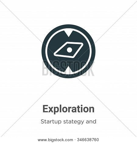 Exploration glyph icon vector on white background. Flat vector exploration icon symbol sign from modern startup collection for mobile concept and web apps design. stock photo