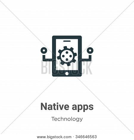 Native apps glyph icon vector on white background. Flat vector native apps icon symbol sign from modern technology collection for mobile concept and web apps design. stock photo