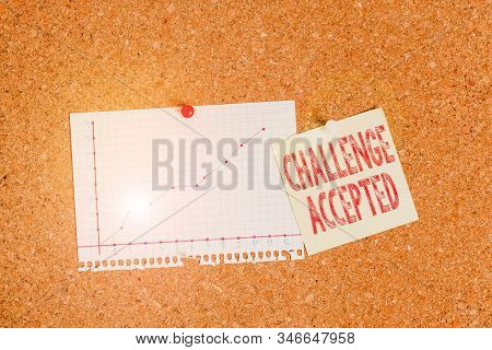 Text sign showing Challenge Accepted. Conceptual photo to participate or undertake in a competitive situation Corkboard color size paper pin thumbtack tack sheet billboard notice board. stock photo