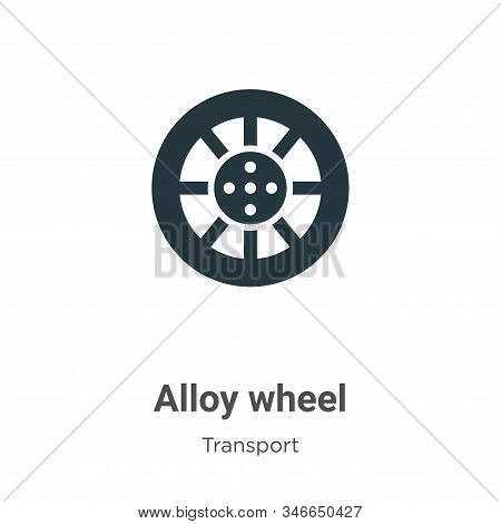 Alloy wheel glyph icon vector on white background. Flat vector alloy wheel icon symbol sign from modern transport collection for mobile concept and web apps design. stock photo