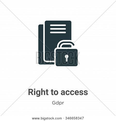 Right to access glyph icon vector on white background. Flat vector right to access icon symbol sign from modern gdpr collection for mobile concept and web apps design. stock photo
