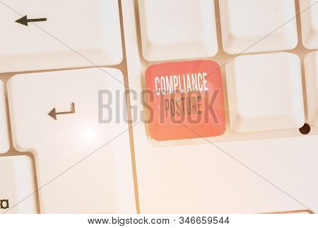 Word writing text Compliance Posture. Business concept for analysisage the defense of enterprise and assure resources. stock photo