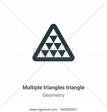 Multiple triangles triangle glyph icon vector on white background. Flat vector multiple triangles triangle icon symbol sign from modern geometry collection for mobile concept and web apps design. stock photo
