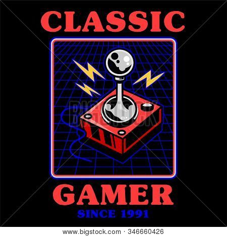 Old school vintage joystick for play retro video classic game gamer arcade. Print design vector illustration icon gamepad controller of geek culture for t-shirt apparel badge tee poster merchandise. stock photo