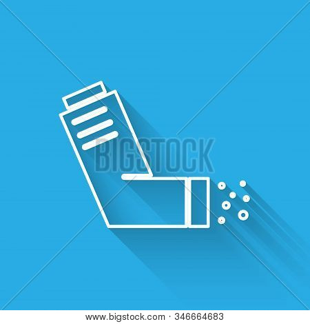 White line Inhaler icon isolated with long shadow. Breather for cough relief, inhalation, allergic patient. Medical allergy asthma inhaler spray. Vector Illustration stock photo