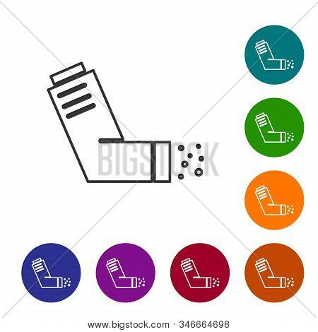 Grey line Inhaler icon isolated on white background. Breather for cough relief, inhalation, allergic patient. Medical allergy asthma inhaler spray. Set icons in color circle buttons. Vector Illustration stock photo