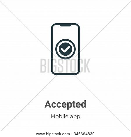 Accepted glyph icon vector on white background. Flat vector accepted icon symbol sign from modern mobile app collection for mobile concept and web apps design. stock photo
