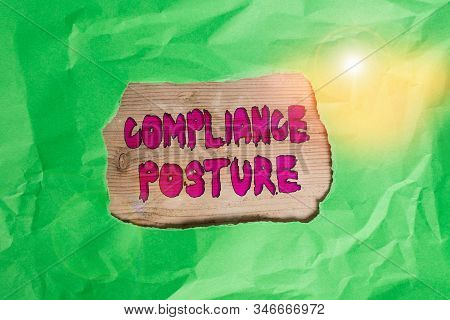 Word writing text Compliance Posture. Business concept for analysisage the defense of enterprise and assure resources Green crumpled ripped colored paper sheet centre torn colorful background. stock photo