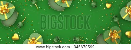 Happy valentines day, valentines day background, green rose flower heart shape gift box , gold confetti glitter on background, valentines gift, valentines day heart, 3D illustration. stock photo