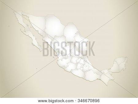 Mexico map, administrative division, old paper background blank stock photo