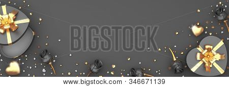 Happy valentines day, valentines day background, Rose flower heart shape gift box , gold confetti glitter on black gray background, valentines gift, valentines day heart, 3D illustration. stock photo