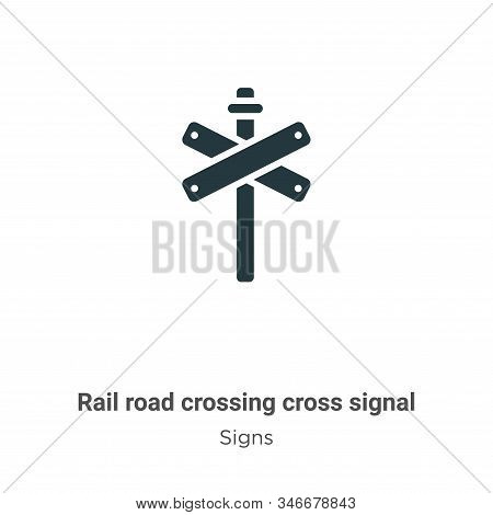 Rail road crossing cross signal glyph icon vector on white background. Flat vector rail road crossing cross signal icon symbol sign from modern signs collection for mobile concept and web apps design. stock photo