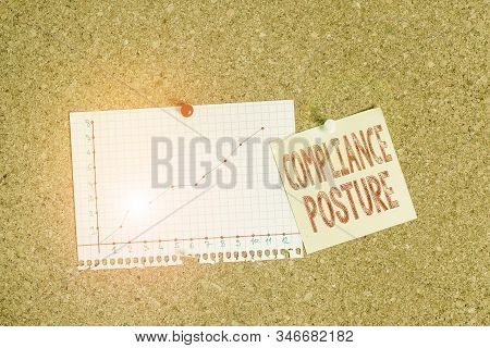 Text sign showing Compliance Posture. Conceptual photo analysisage the defense of enterprise and assure resources Corkboard color size paper pin thumbtack tack sheet billboard notice board. stock photo