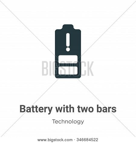 Battery with two bars glyph icon vector on white background. Flat vector battery with two bars icon symbol sign from modern technology collection for mobile concept and web apps design. stock photo