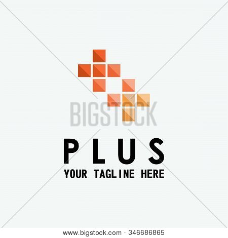 The design forms two types of plus symbols stock photo