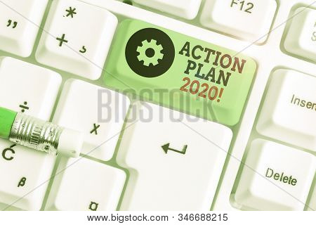Handwriting text writing Action Plan 2020. Concept meaning proposed strategy or course of actions for current year. stock photo
