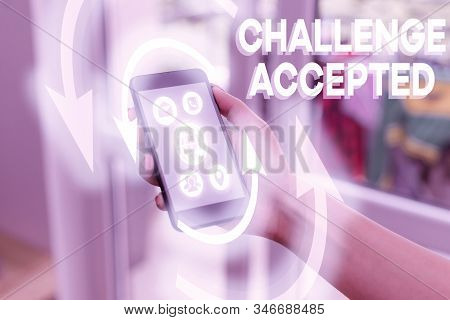 Handwriting text writing Challenge Accepted. Concept meaning to participate or undertake in a competitive situation. stock photo